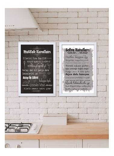 Lyn Home & Decor Mutfak Kuralları Çerçeveli Poster 2 Li Tablo 23.5X33,5 Beyaz